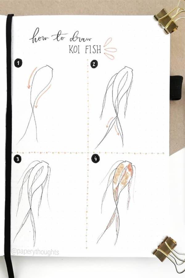 step by step koi fish bujo tutorial