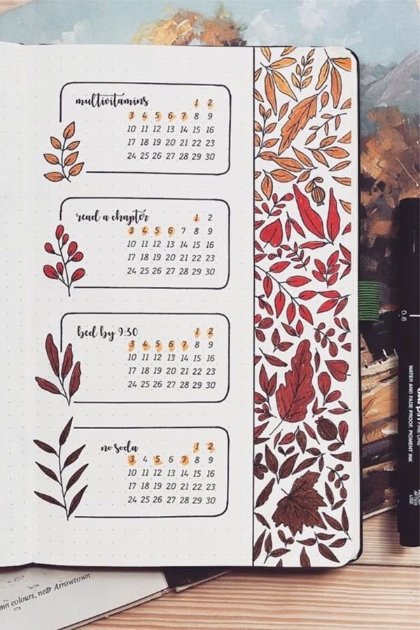 bujo routine tracking spread for fall