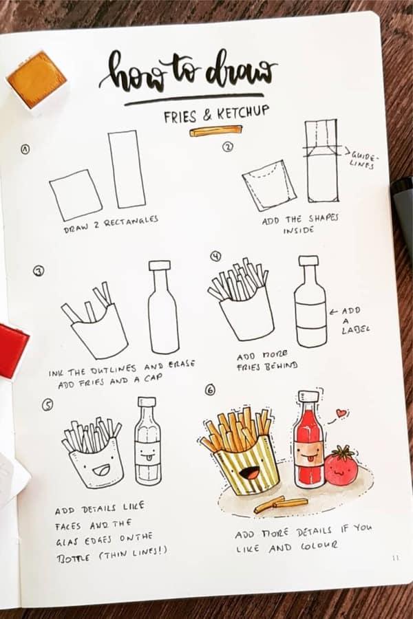 detailed food doodle tutorial for bullet journal