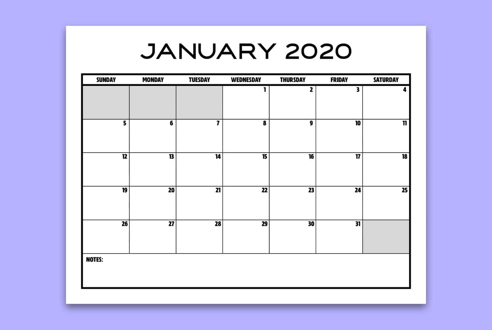 free january blank calendar