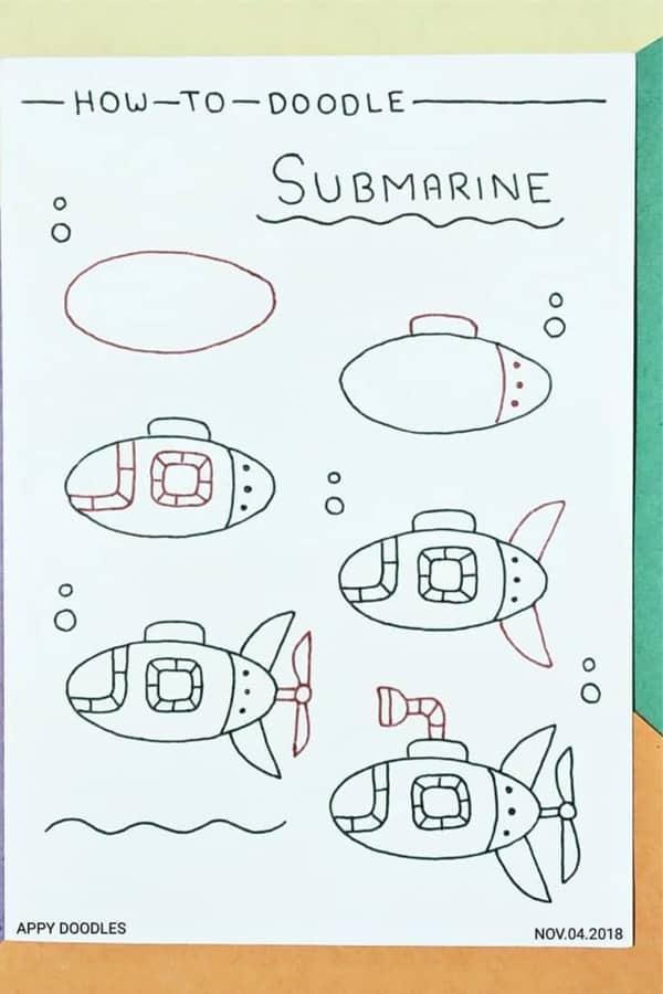 cute ocean sub doodle tutorial