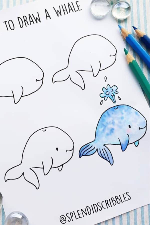 bullet journal doodle with whale
