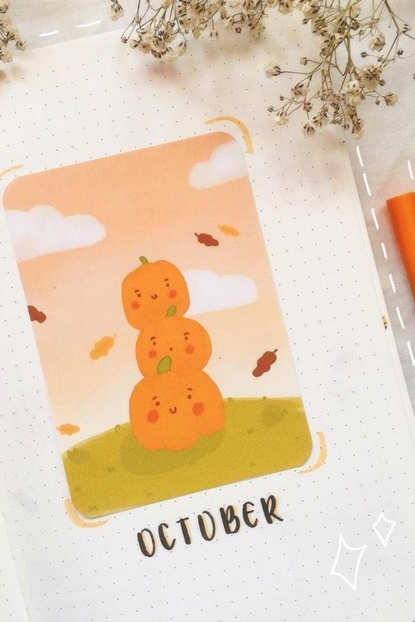 bujo cover spread wtih cute pumpkins