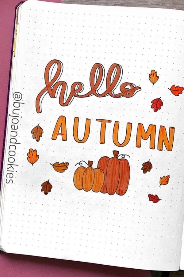 easy bullet journal cover for autumn