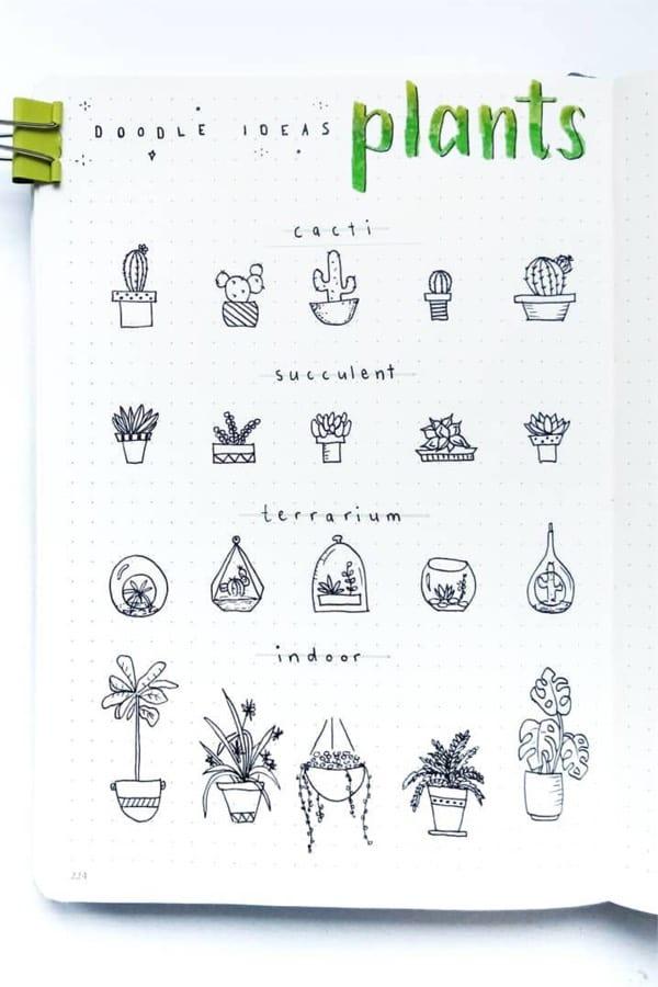 easy ideas for bullet journal plant doodles