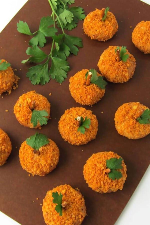 snack bites in shape of pumpkin