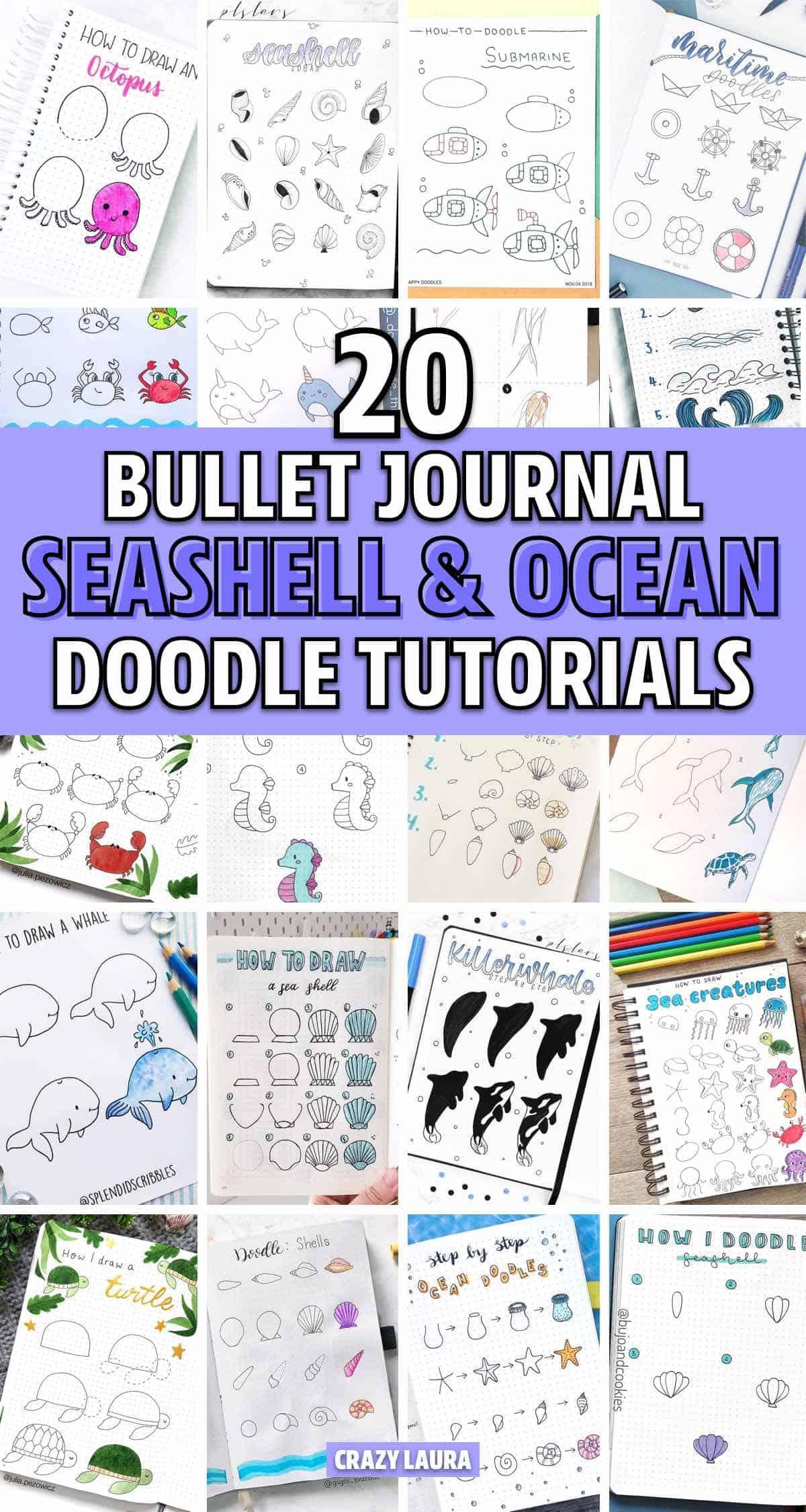 simple bujo seashell doodle ideas