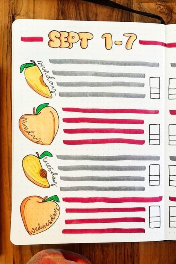 cute peach theme bujo layout