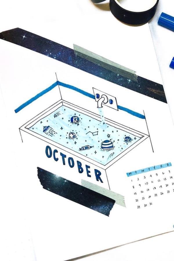 bullet journal cover idea for october