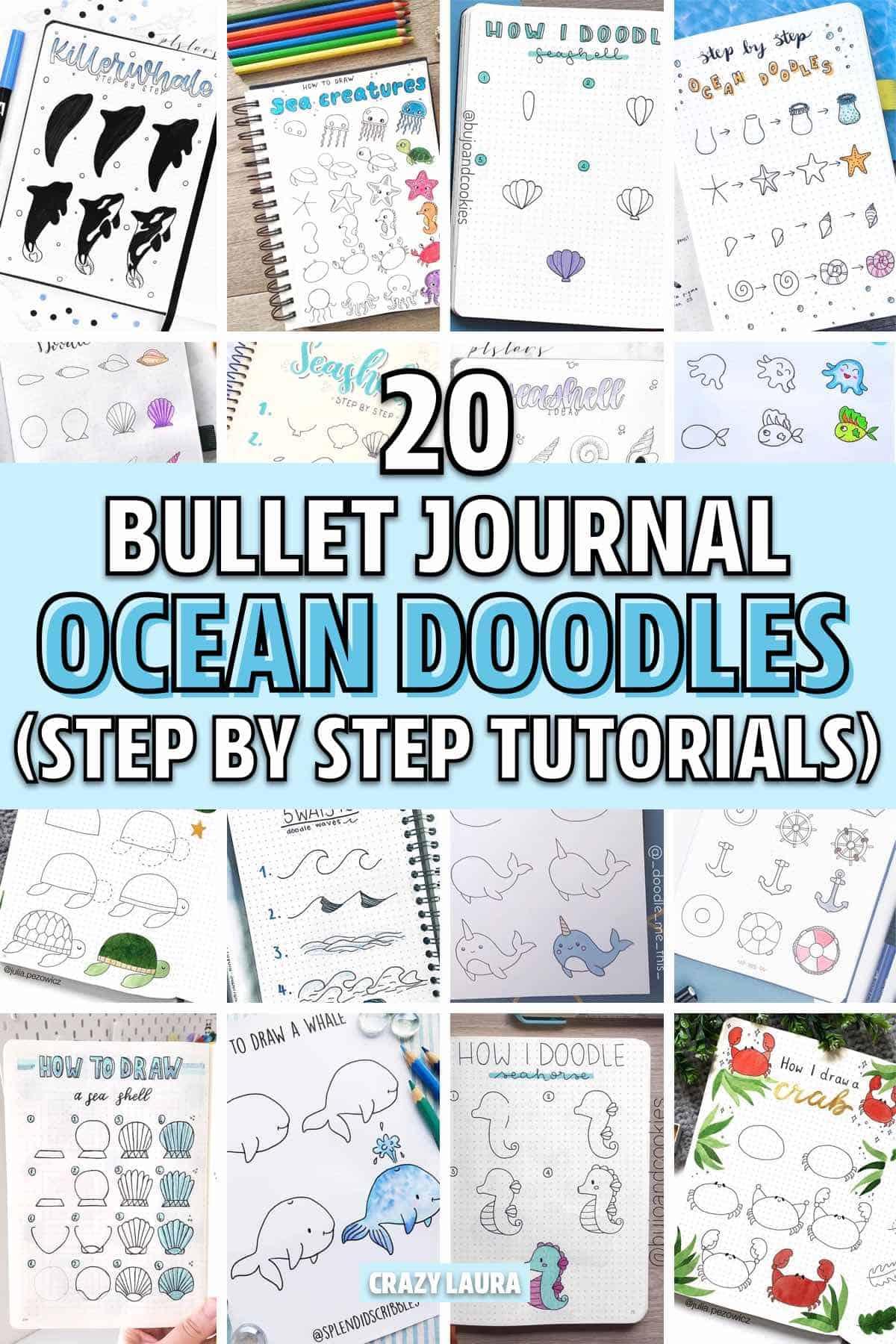 easy ocean themed bujo doodles