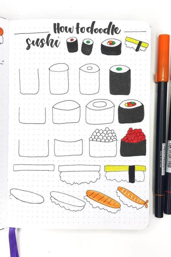 best sushi doodle ideas for bullet journal