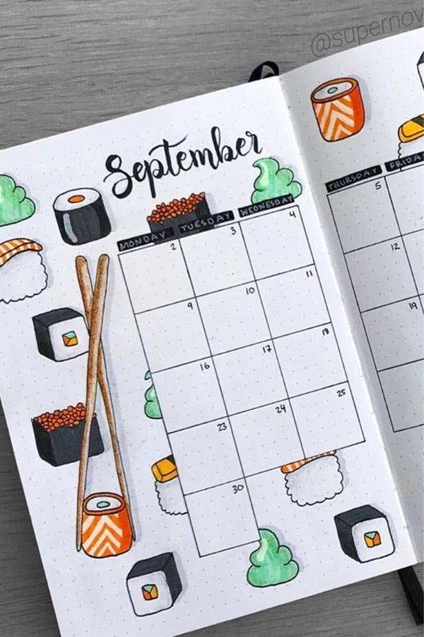 september monthly log with doodles