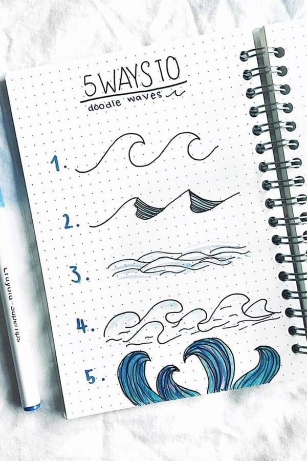 how to draw ocean doodle in bullet journal