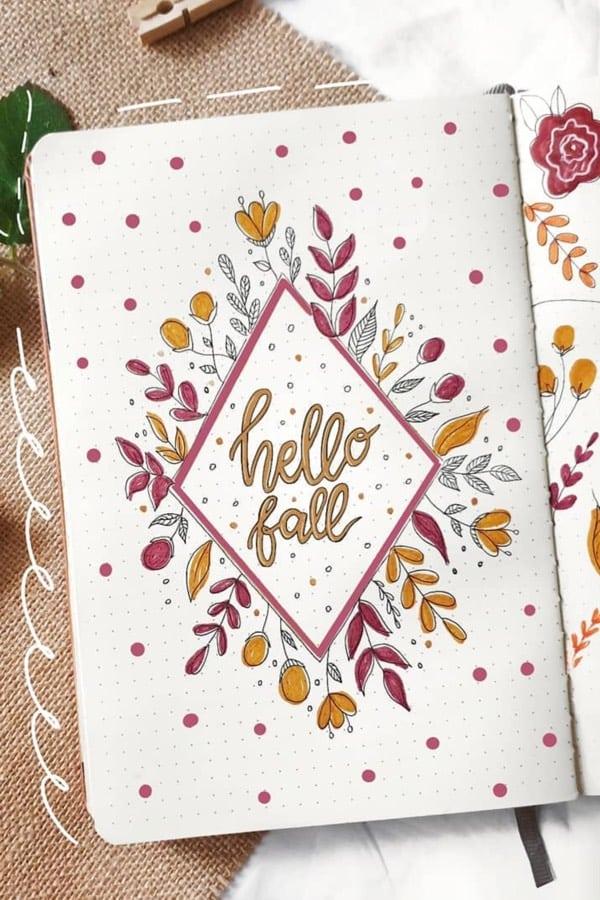 fall colored bujo cover spread