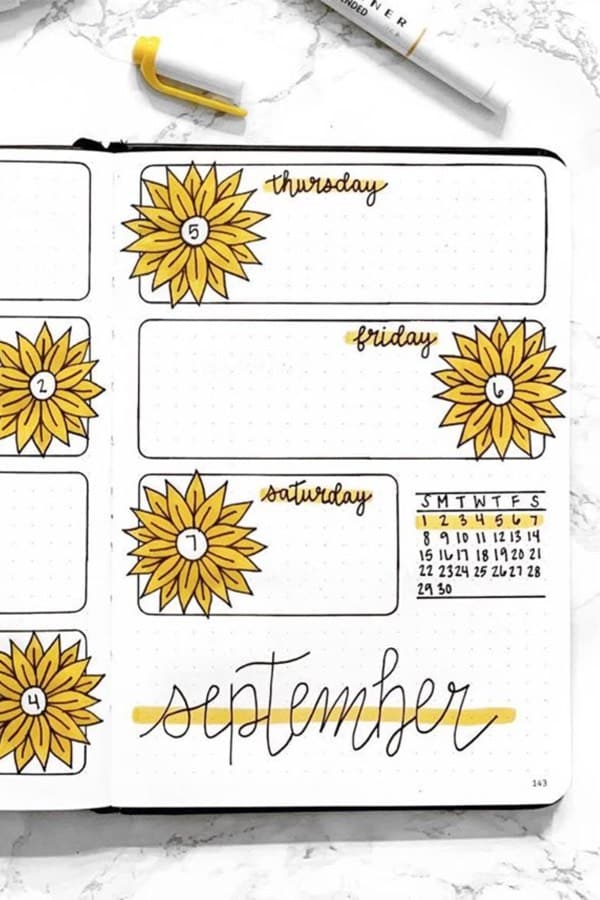 bullet journal weekly logs for september