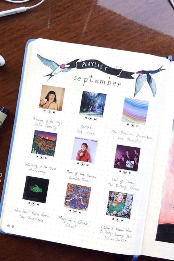 fall time playlist spread in bujo