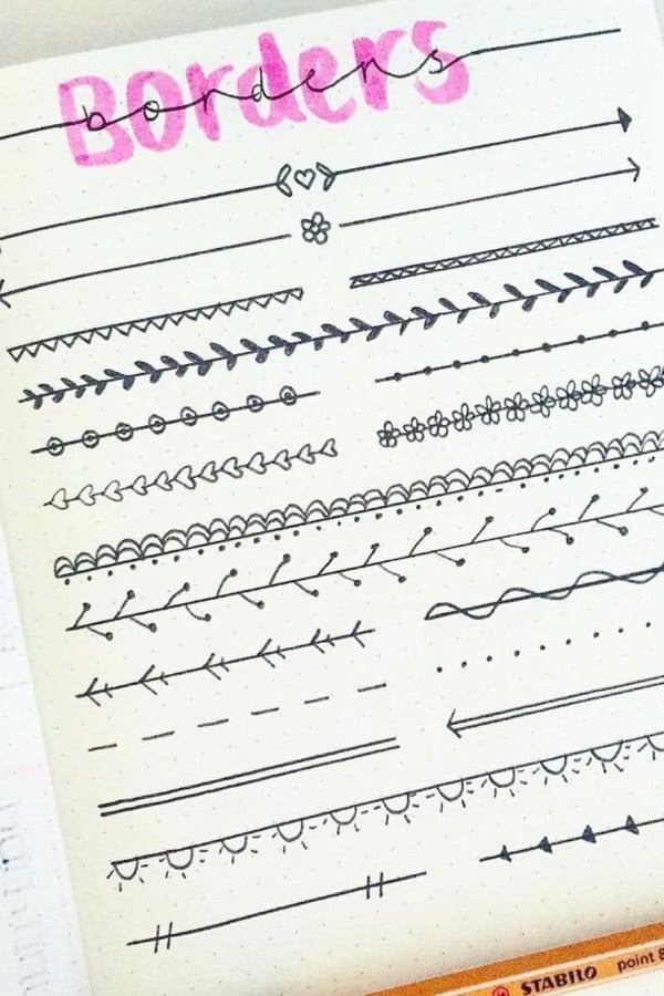 bullet journal line doodle
