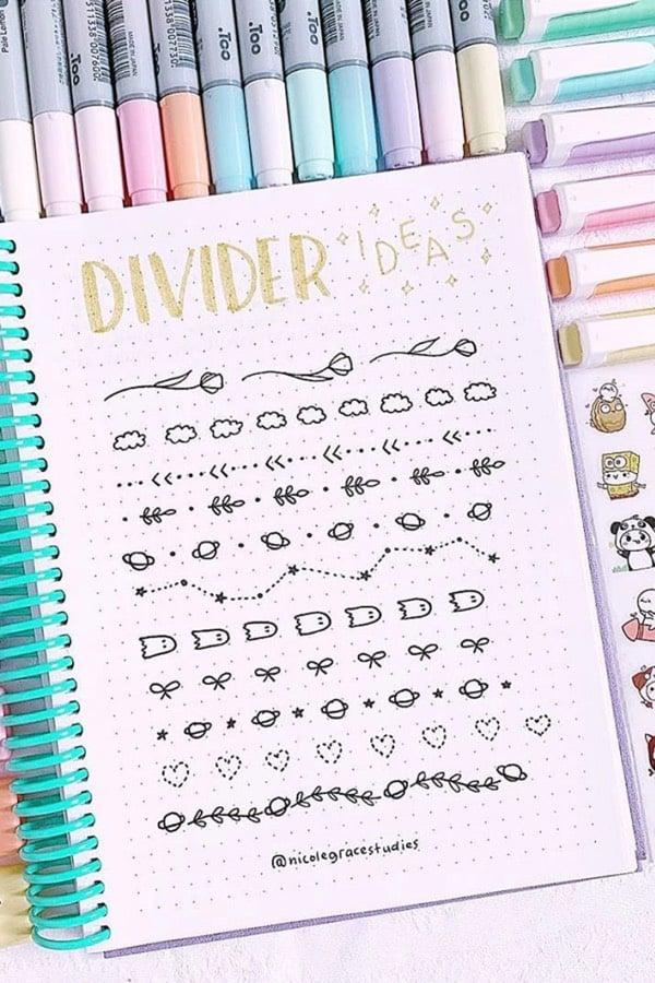 bujo divider theme spread