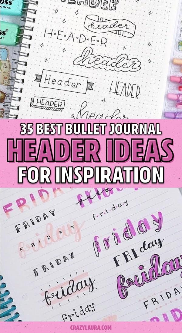 bujo header spread ideas