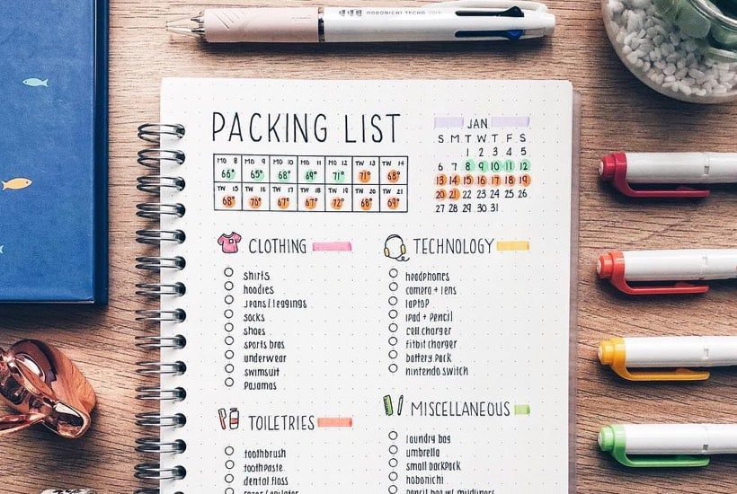 20 Best Packing List Ideas For Bullet Journal Addicts