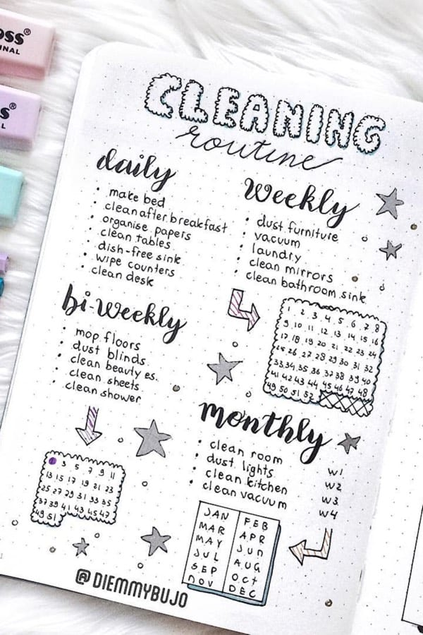 bullet journal cleaning tracker example