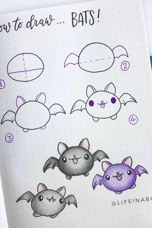 easy doodle tutorial for halloween bats