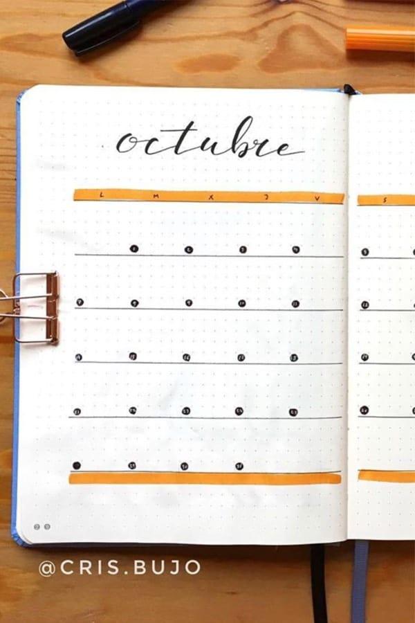 subtle orange monthly layout