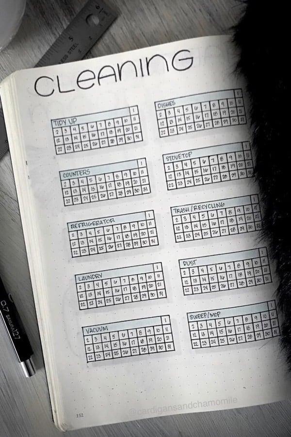 tracker for chores in bullet journal