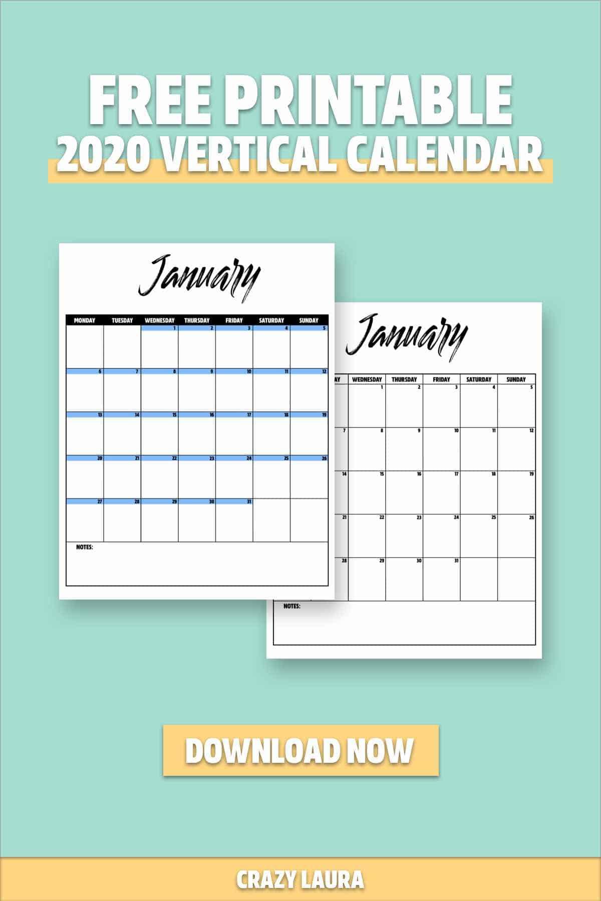 best vertical calendar printable