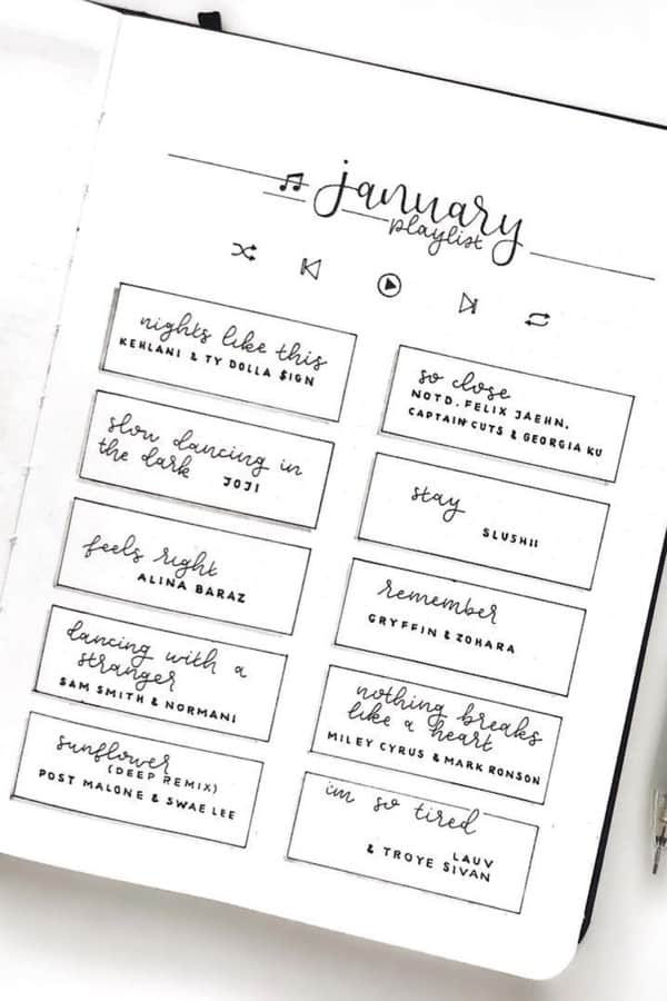 simple bullet journal playlist tracking page