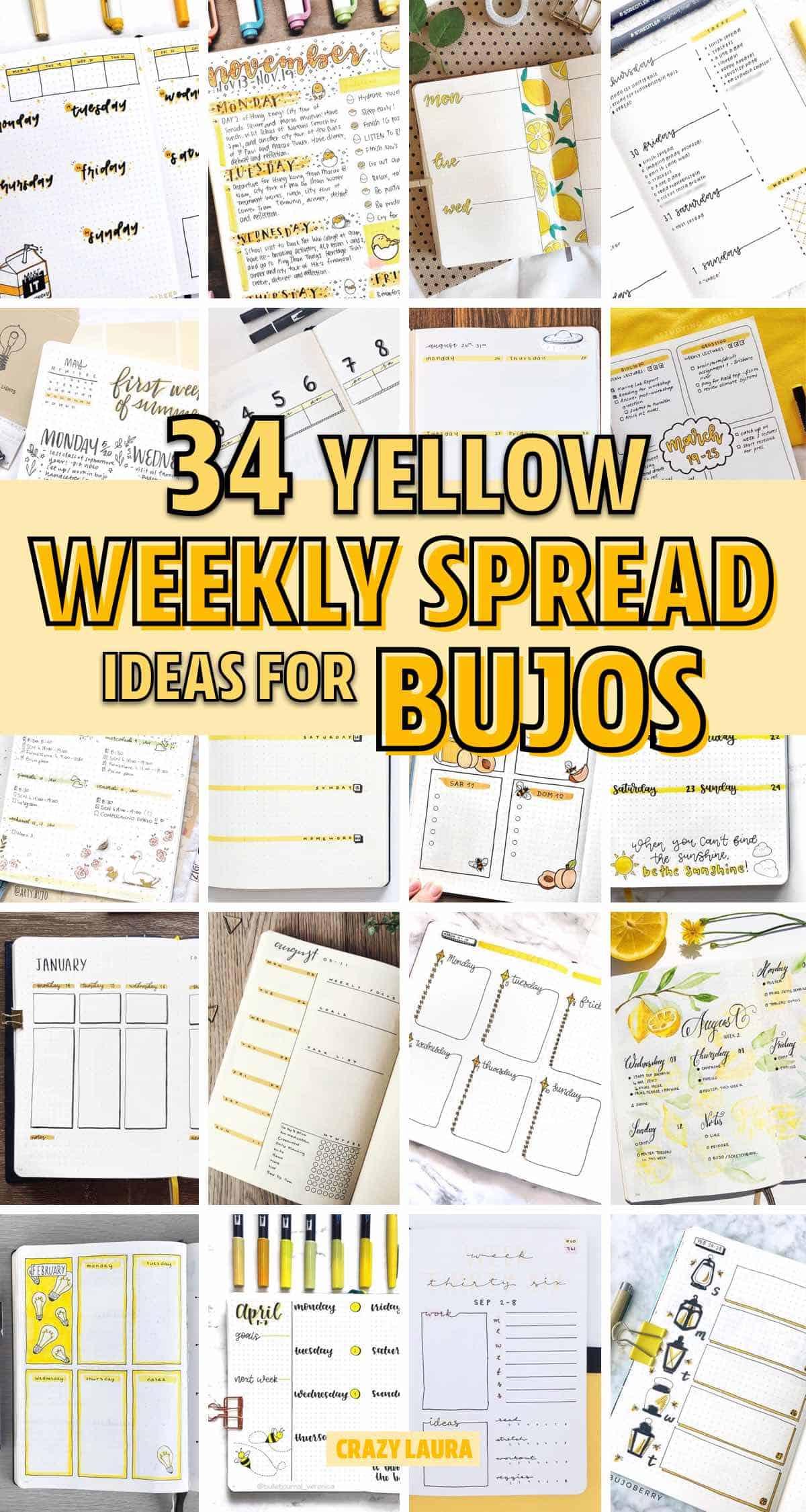 examples of yellow bujo weeklies