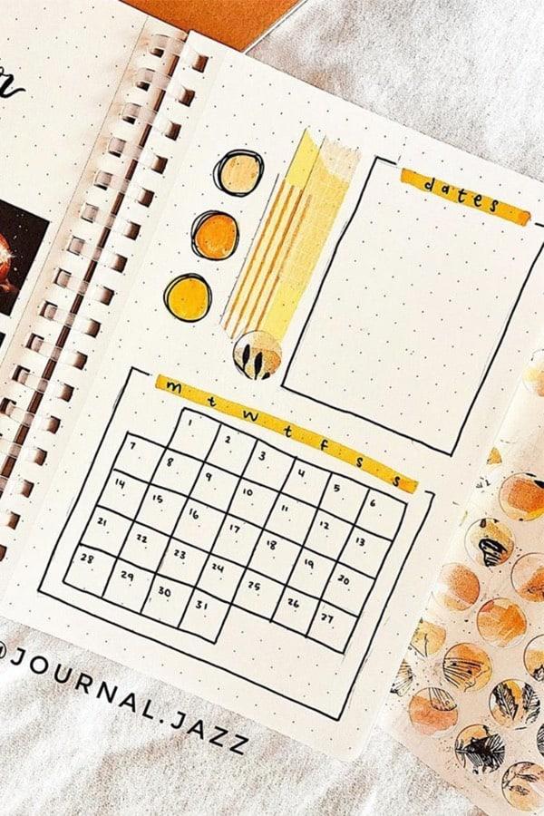 easy bullet journal monthly log for october