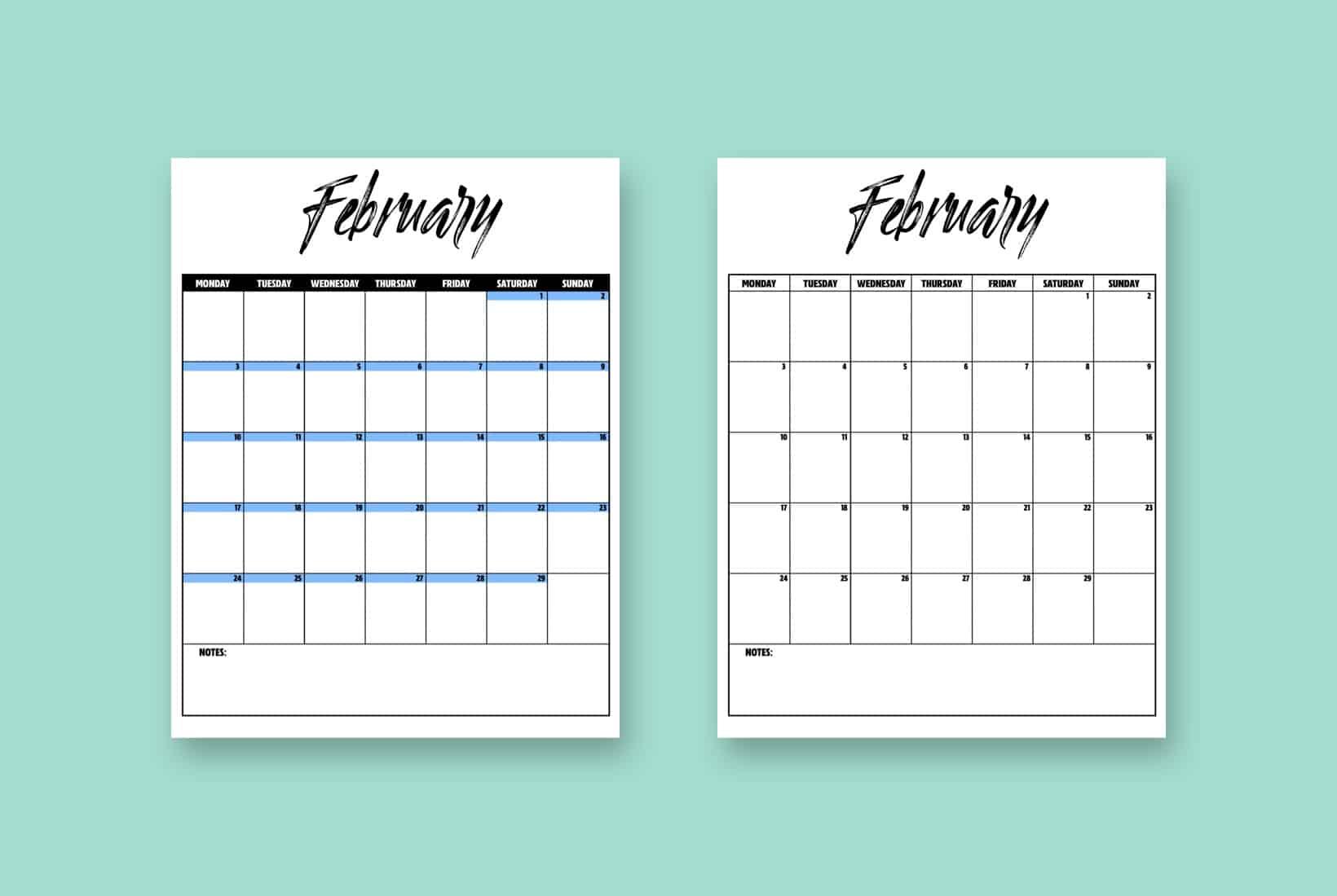 free 2020 vertical calendar printable