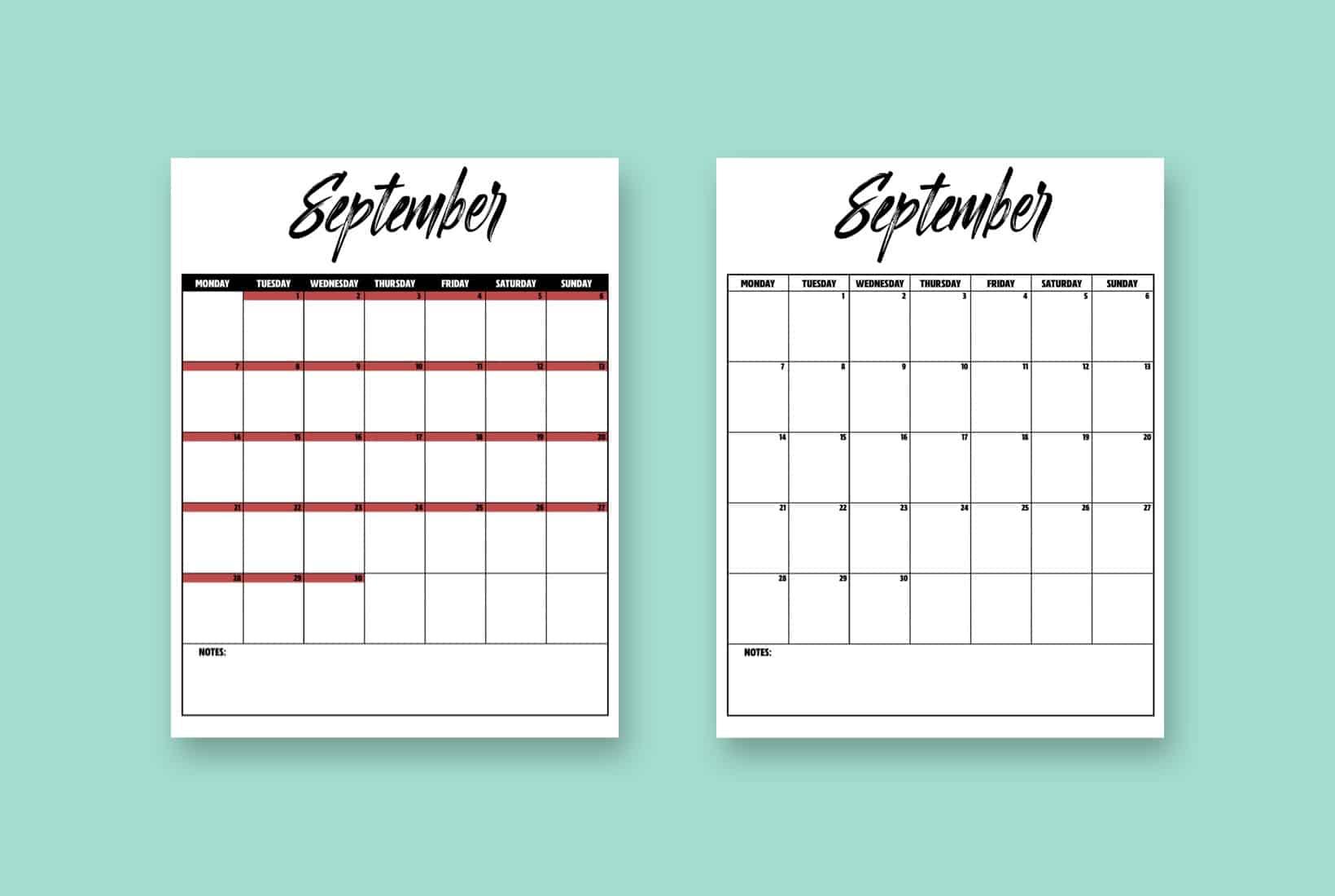 template for september 2020 printable