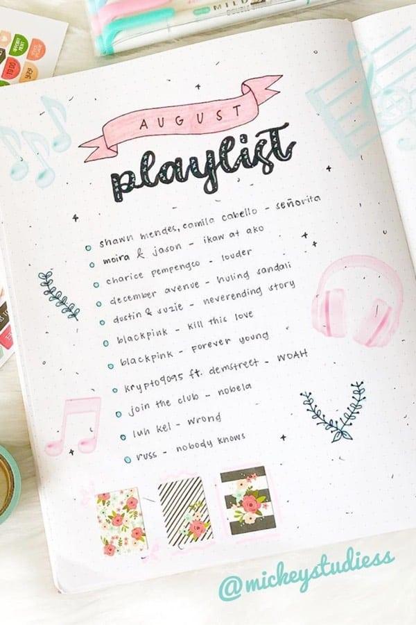 bujo playlist spread with pink theme
