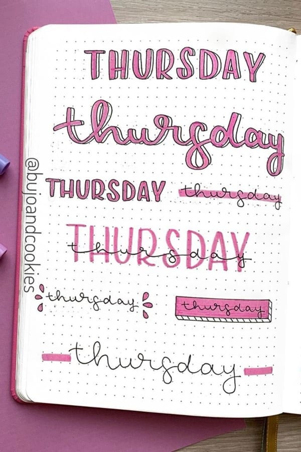 cute bullet journal thursday title ideas