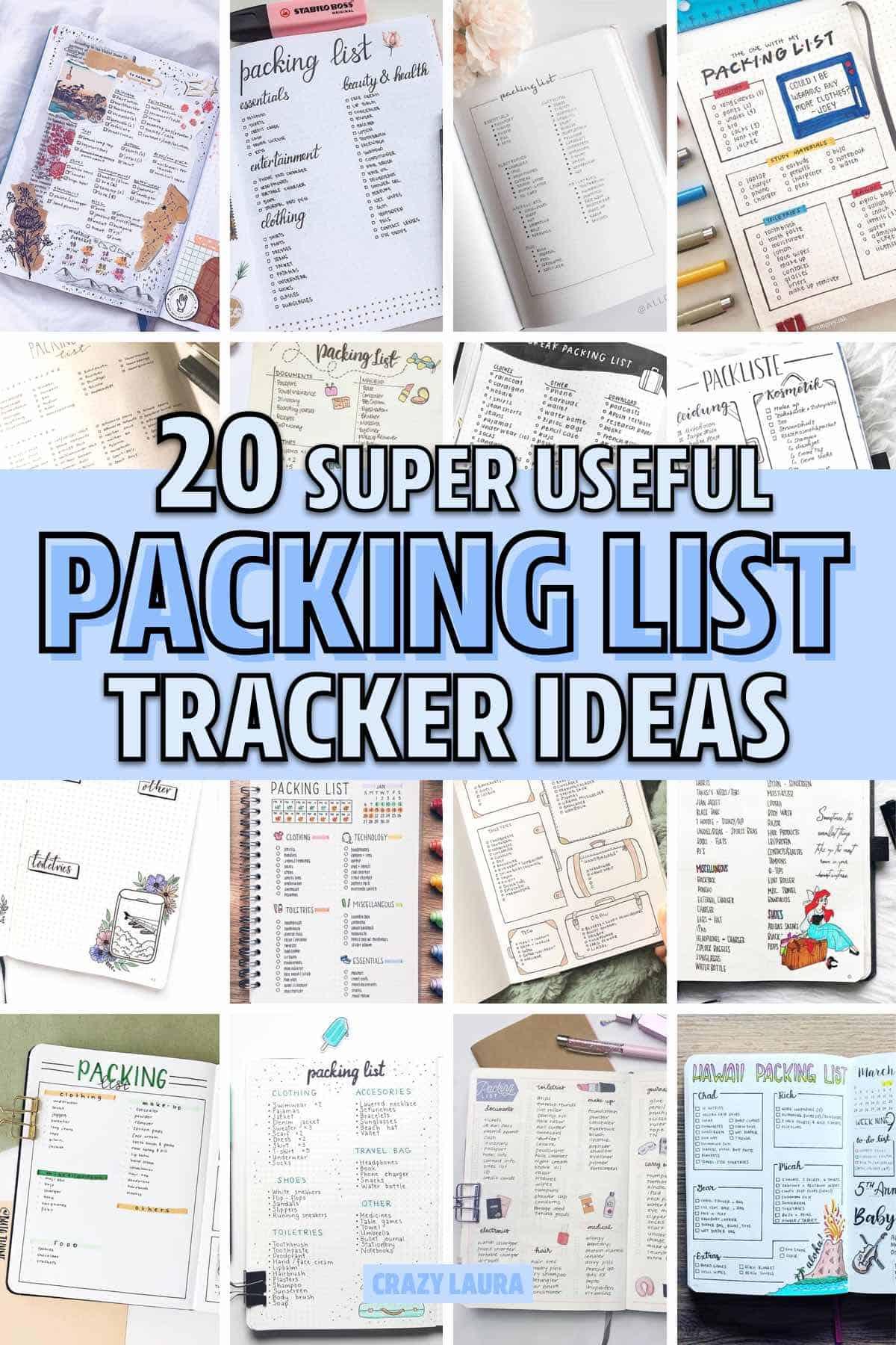 best packing list ideas for bullet journal