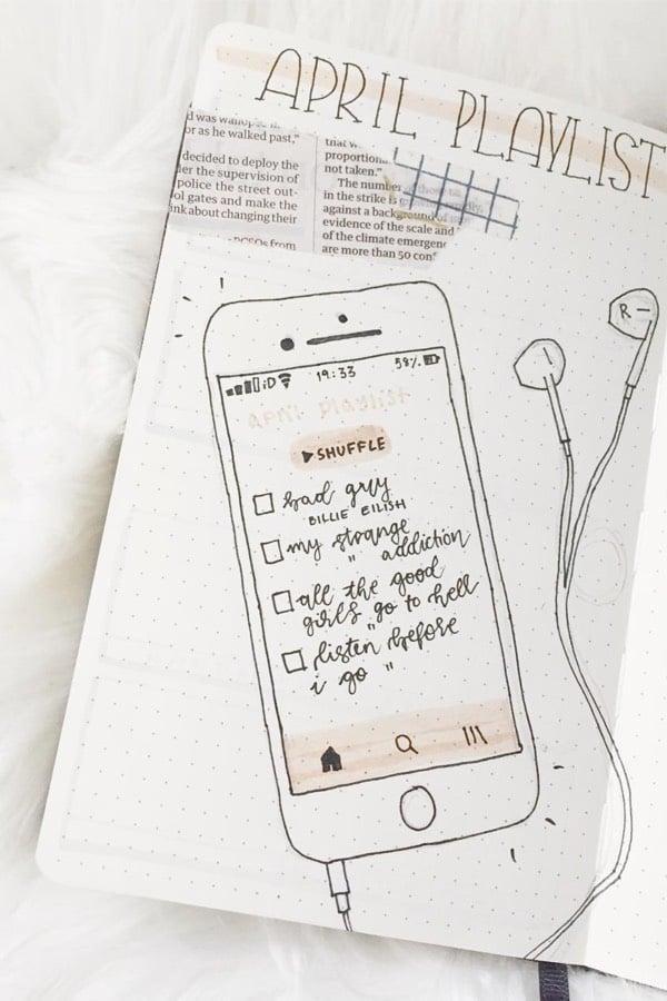 iphone bullet journal playlist tracker