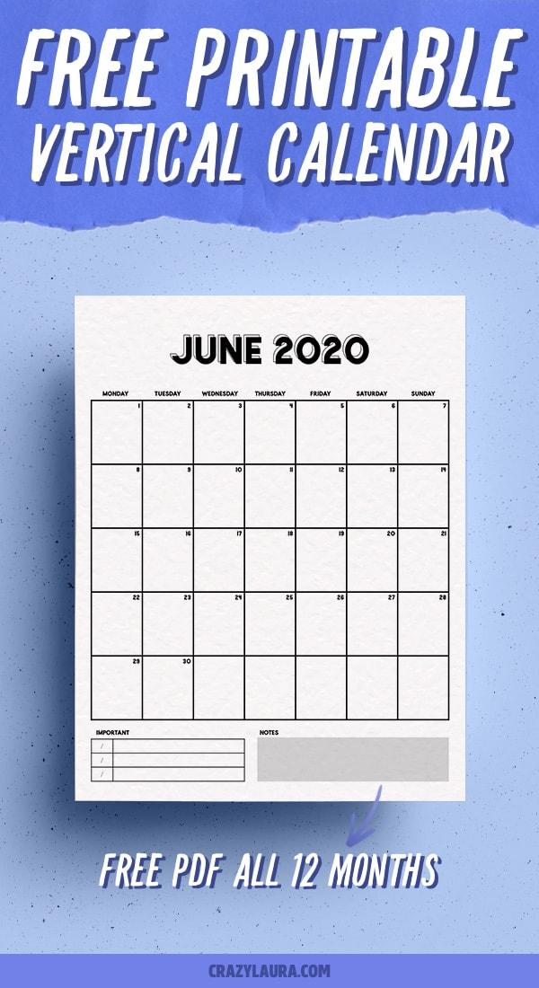 vertical monthly calendar download here