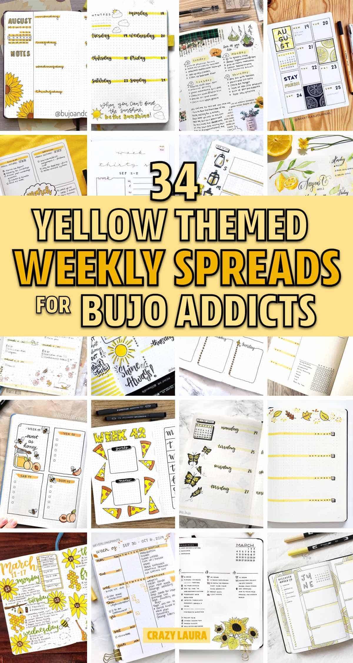 creative yellow bujo layouts