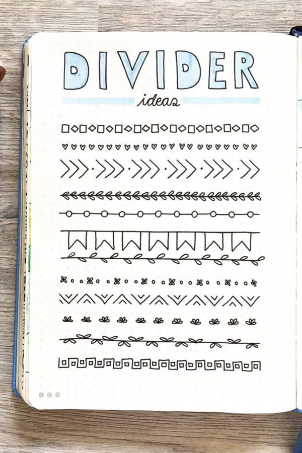 best divider examples for bujo