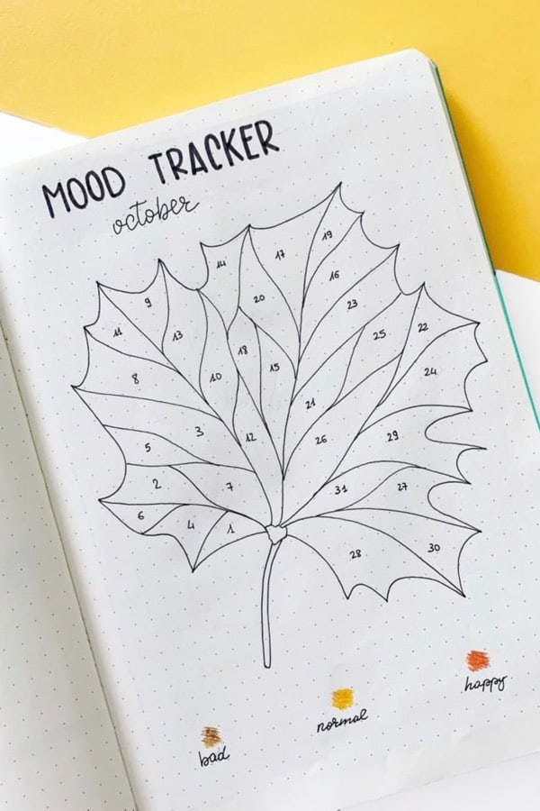 mood tracking page with fall leaves