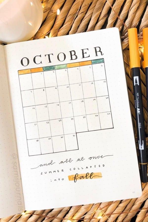 basic monthly log for october