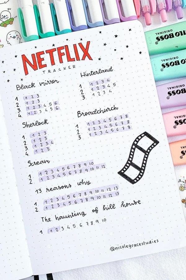 bujo pastel tracker for netflix series