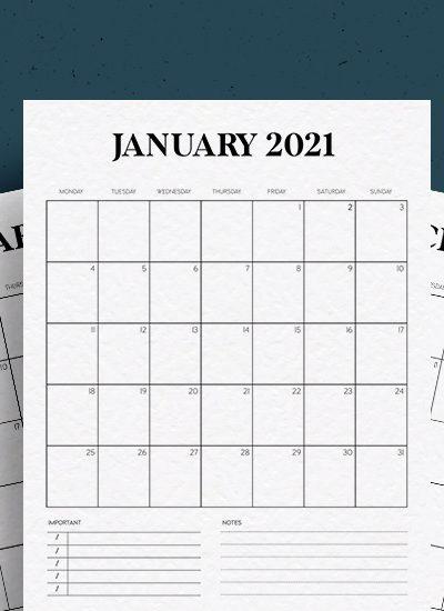 minimal vertical calendar download for 2021
