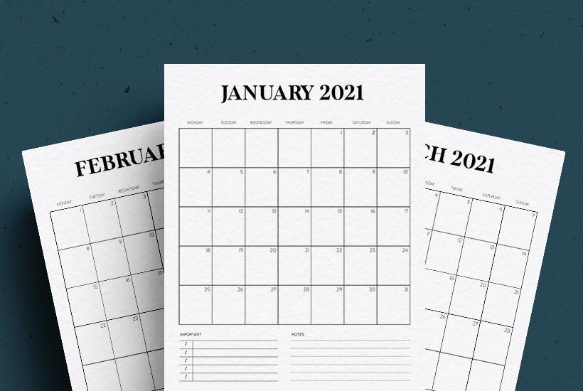 Free Vertical Calendar Printable For 2021