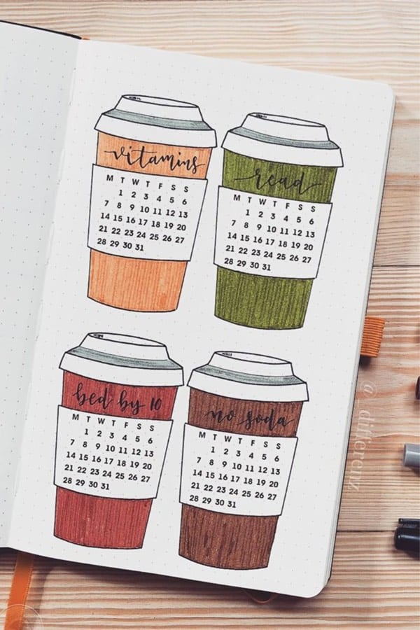 coffee theme habit tracking layout