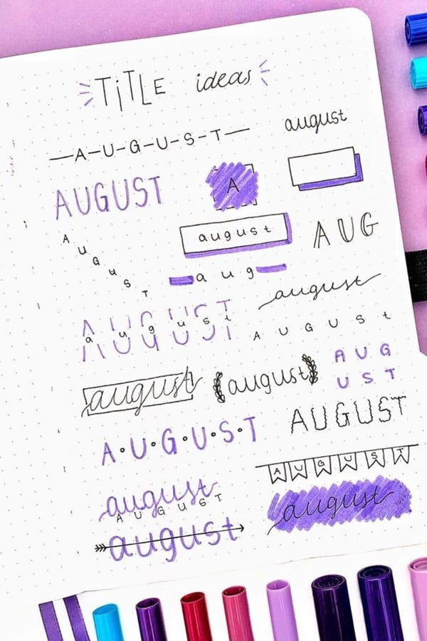best examples for bullet journal title spread