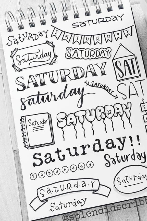 bujo title ideas for saturday