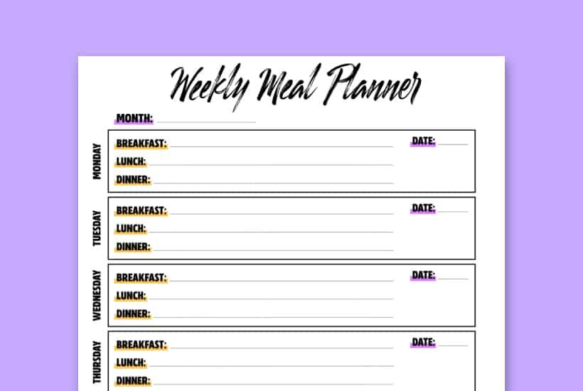cute printable for weekly meal planner